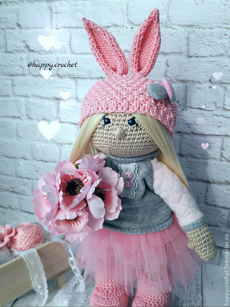 Купить Зая - бледно-розовый, кукла ручной работы, кукла, кукла в подарок, кукла интерьерная