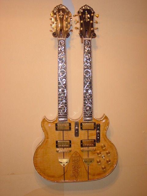 John Mclaughlin S Custom Made Rex Bogue Guitar Called The Double Rainbow Mclaughlin Used This Guitar With The Mahavishnu Orch Guitar Design Guitar Cool Guitar