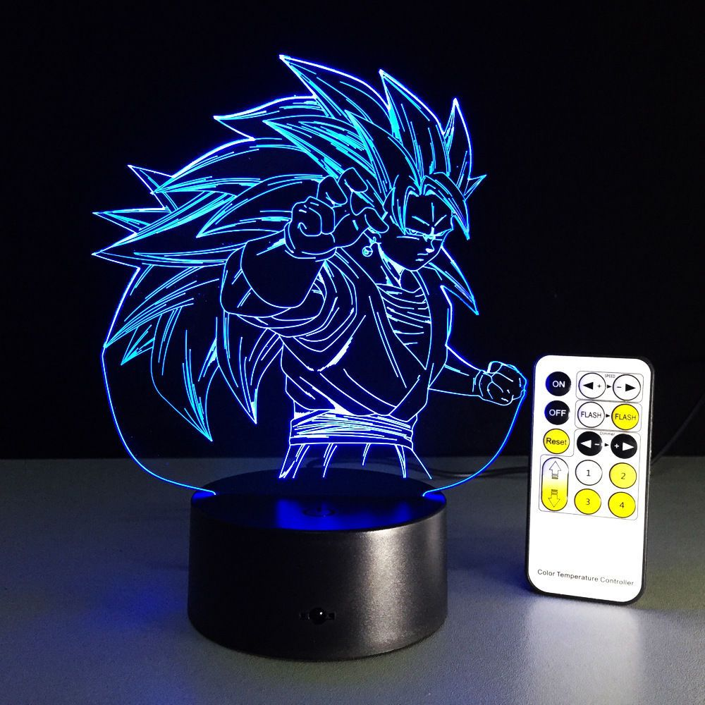 Dragon Ball Z Son Goku 3D LED Night Light Touch Switch Table Desk Lamp Toy Gift