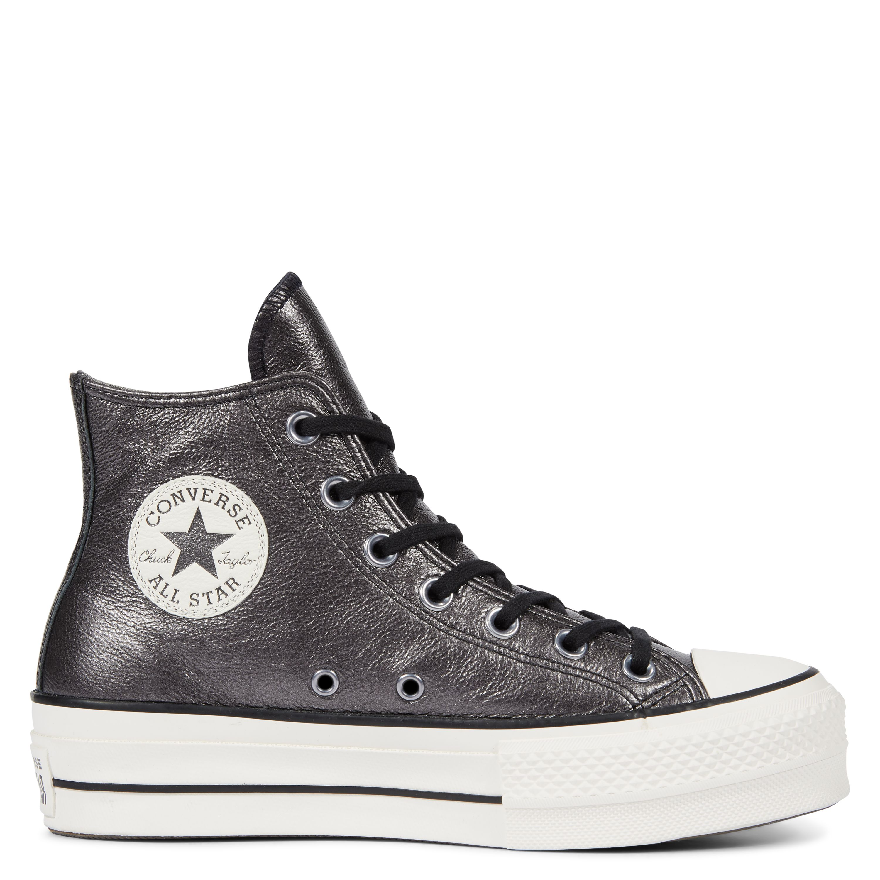 100 Chuck Taylor All Star Lift Metallic Leather High Black