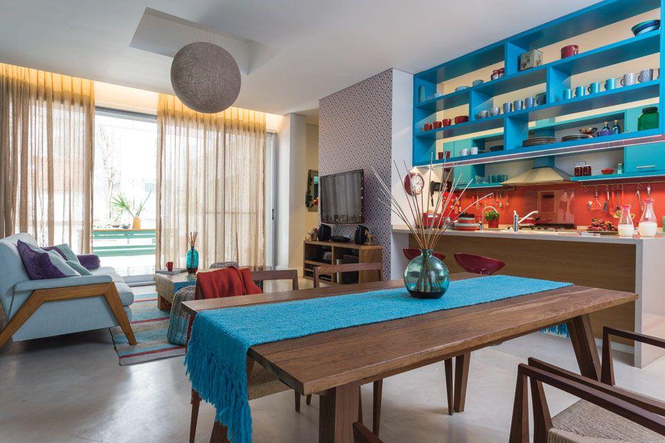 Vibrant Kitchen Design With Azure Blue And Red Orange Theme   iDesignArch   Interior Design ...