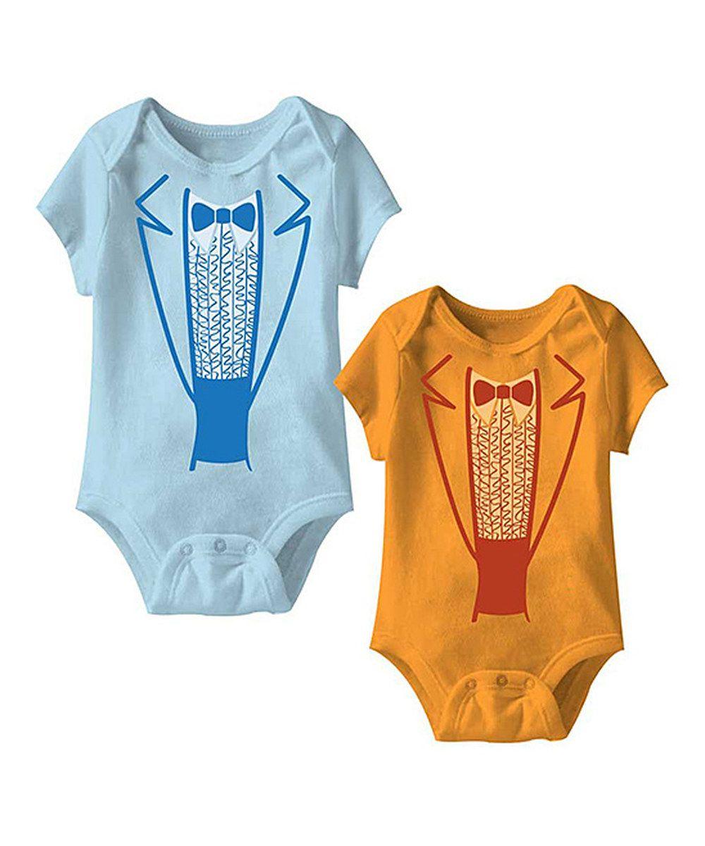 Loving this Blue & Orange Tuxedo Bodysuit Set - Infant on #zulily ...