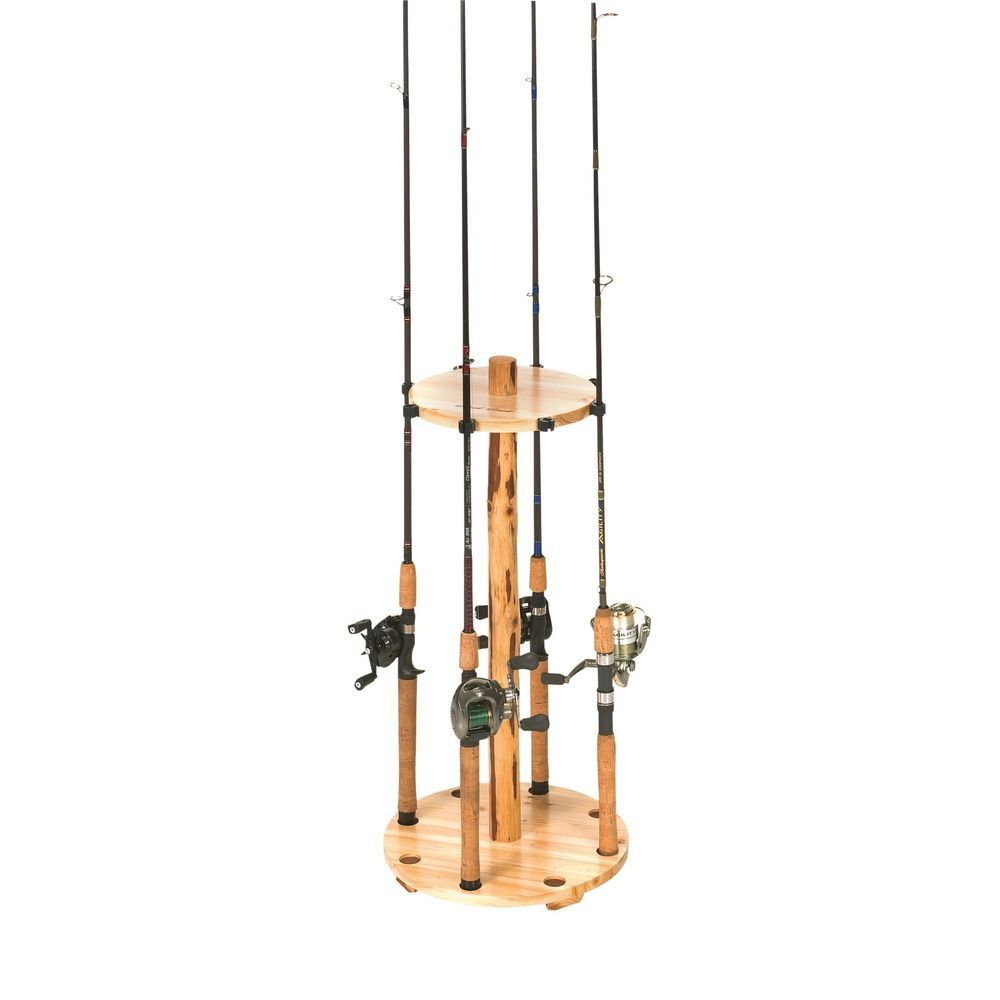 Rod Round Rack Storage Holder Organizer Fishing Wood Display Pole ...