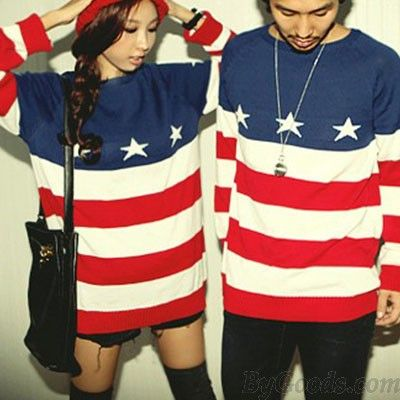 Fashion American Flag Printed Sweater For Lovers only $28.99 in ByGoods.com!