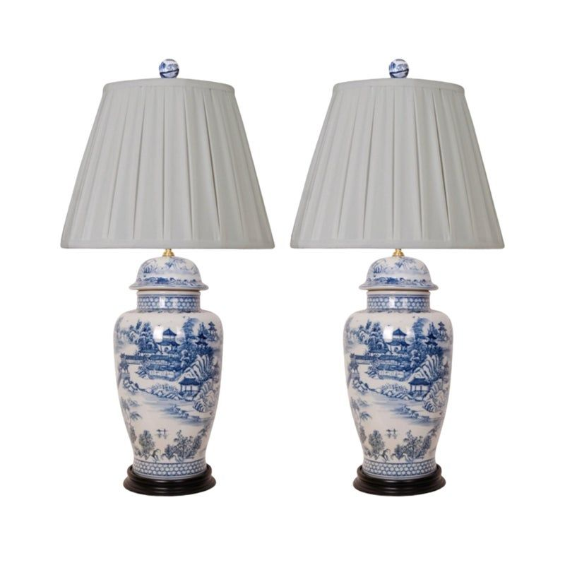 Blue And White Porcelain Lamps Pleated Shades A Pair White Porcelain Blue White White Temple