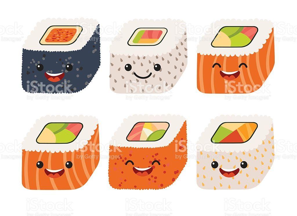 お寿司ベクトルしますかわいい寿司かわいい笑顔巻き寿司