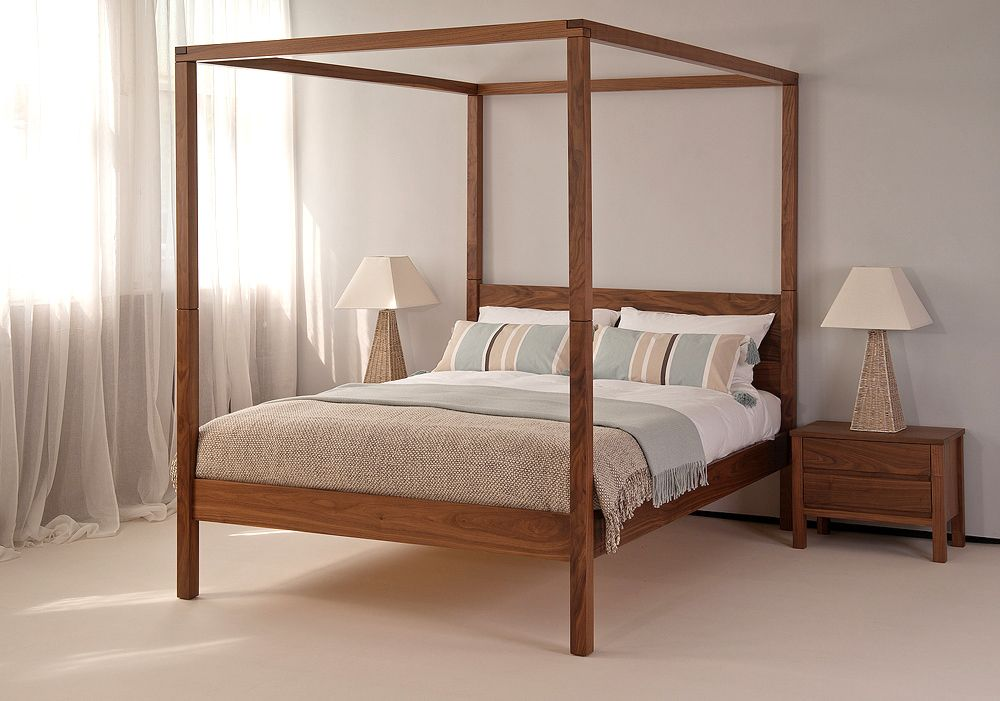 The Orchid contemporary 4 poster bed in solid walnut shown with classic neutral bedding. For more pictures take a look at the website: ... & The Orchid contemporary 4 poster bed in solid walnut shown with ...