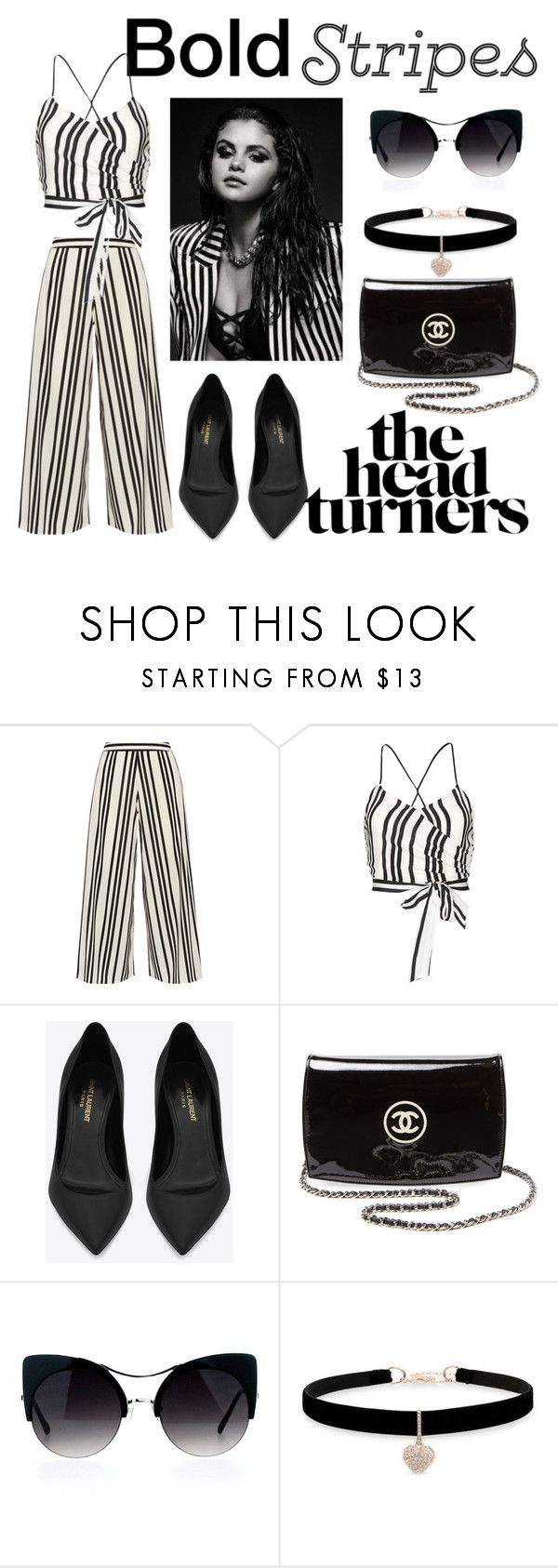 """""""striped pants"""" by anjali99 ❤ liked on Polyvore featuring Alice + Olivia, Yves Saint Laurent, Chanel and Betsey Johnson"""
