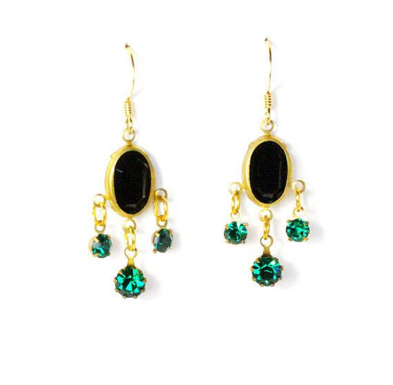 Photo of Vintage black and emerald green crystal chandelier golden earrings LAST ONE