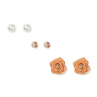 Pearl, Iridescent Crystal and Mesh Rose Stud Earrings Set of 3