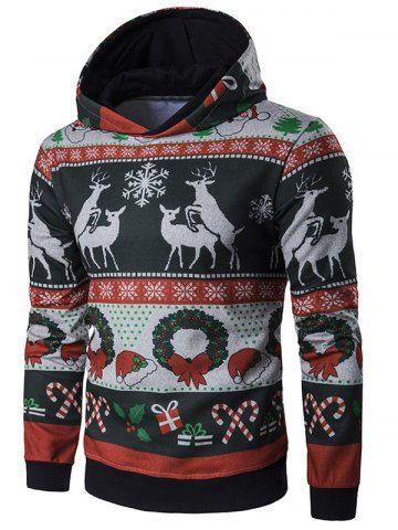 Smallwin Mens Drawstring X-mas Pullover Hoodie Print Hip-Hop Sweatshirts