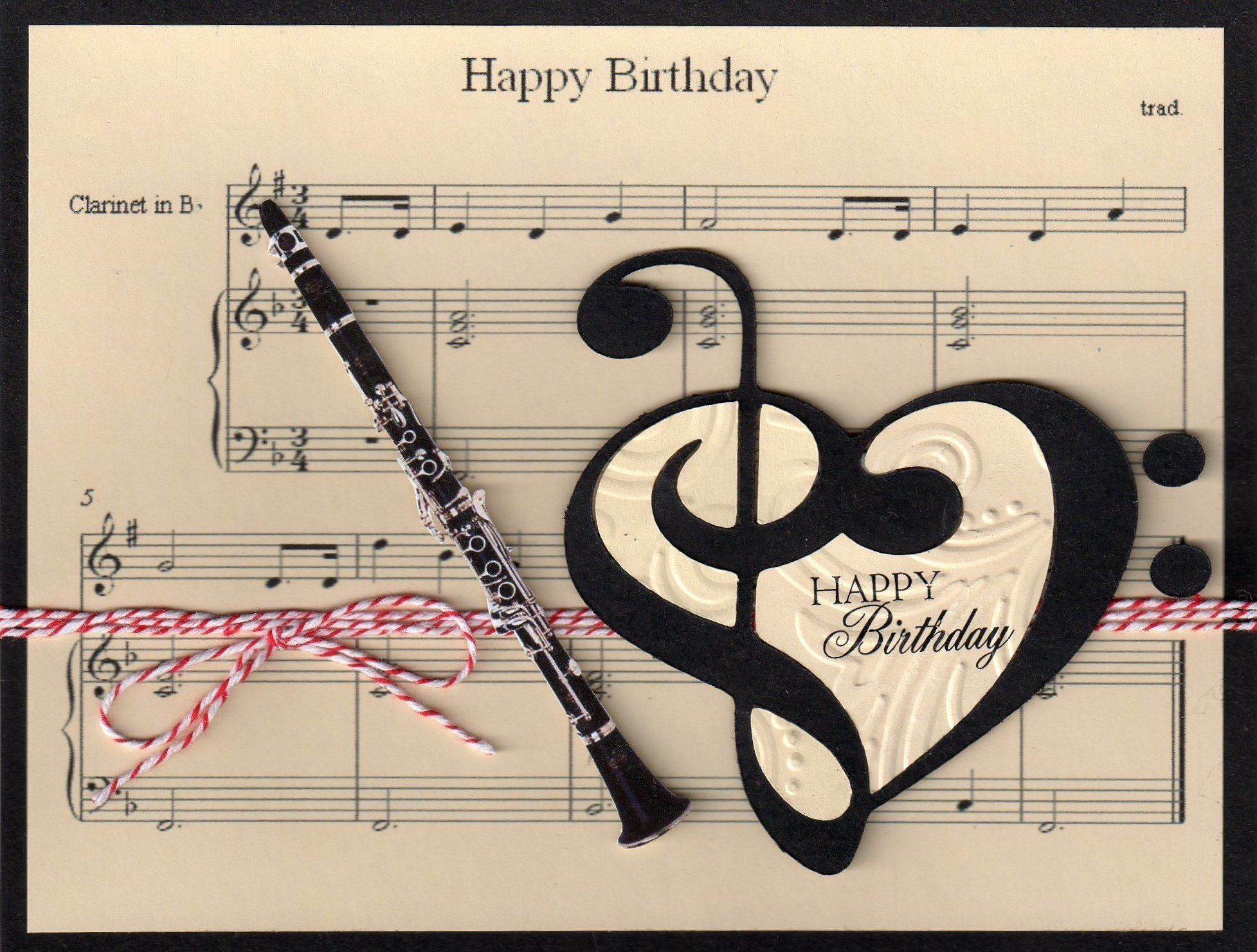 ┌iiiii┐ Happy Birthday Music clarinet Birthday Card