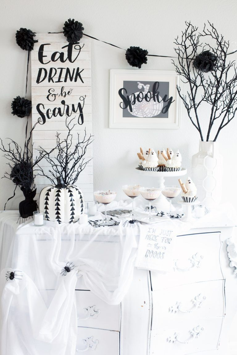 Halloween Boo Bash Party In Black And White With Cricut Maker Frog Prince Paperie White Halloween Party Halloween Party Dinner Halloween Party Decor