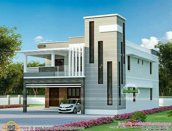 Good Elevation For Staircase Kerala House Design 2 Storey House   Home Front Staircase Design   Entrance Front Door Stair   Home Jina   Ghar   Roof Railing Brick   Outer Wall