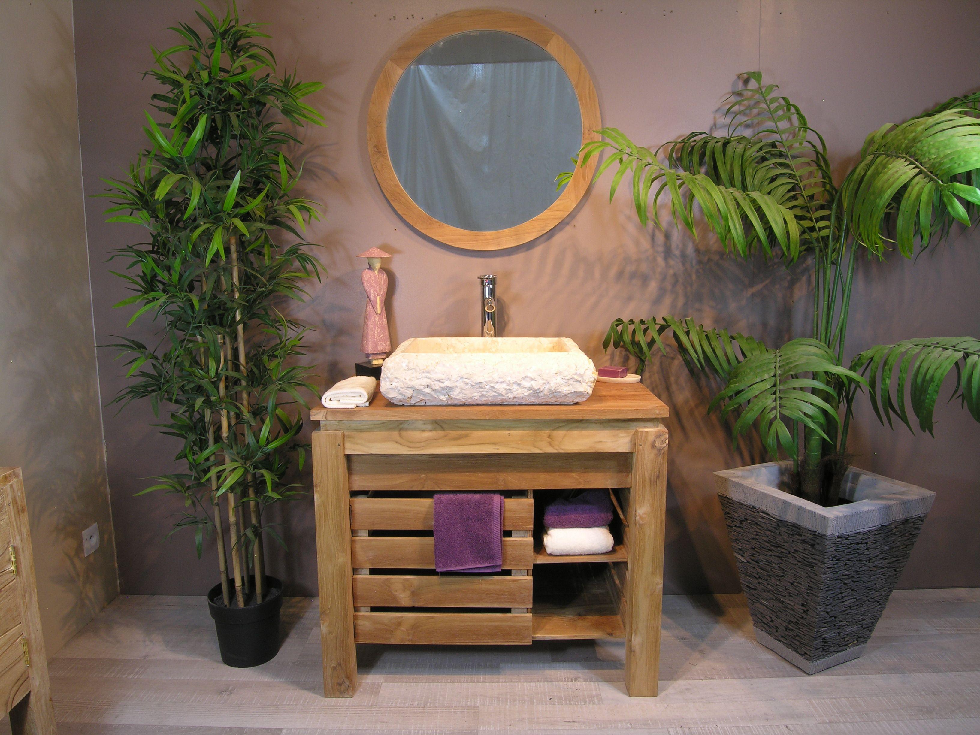 Ori meuble de salle de bain en teck zen 85cm miroir 446 for Meuble de salle de bain zen