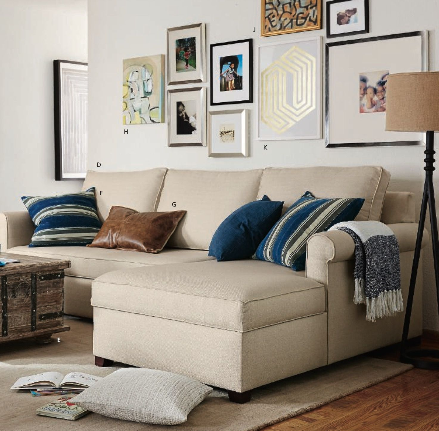 Cameron sofa with roll arms shown in Basketweave Slub Oatmeal