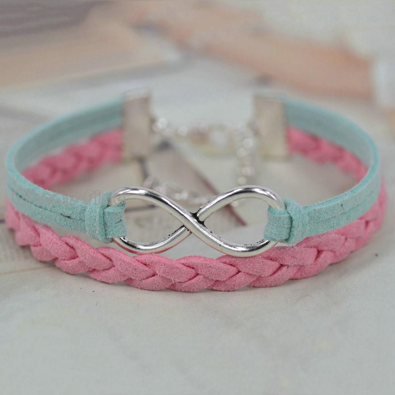 Korean cashmere Silver tone big infinity charm Bracelet