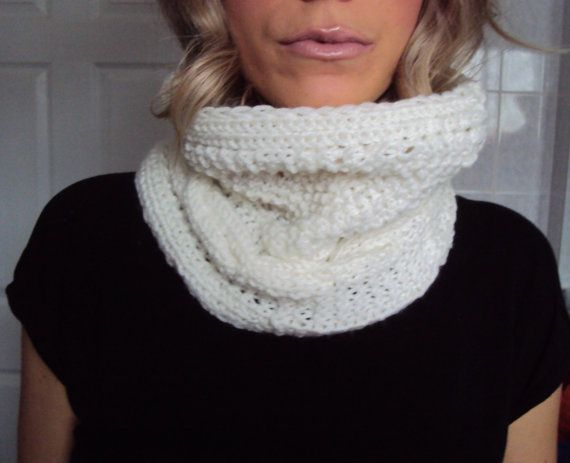 Hey, I found this really awesome Etsy listing at https://www.etsy.com/listing/173003924/white-hand-knitted-cowl-scarf-neck