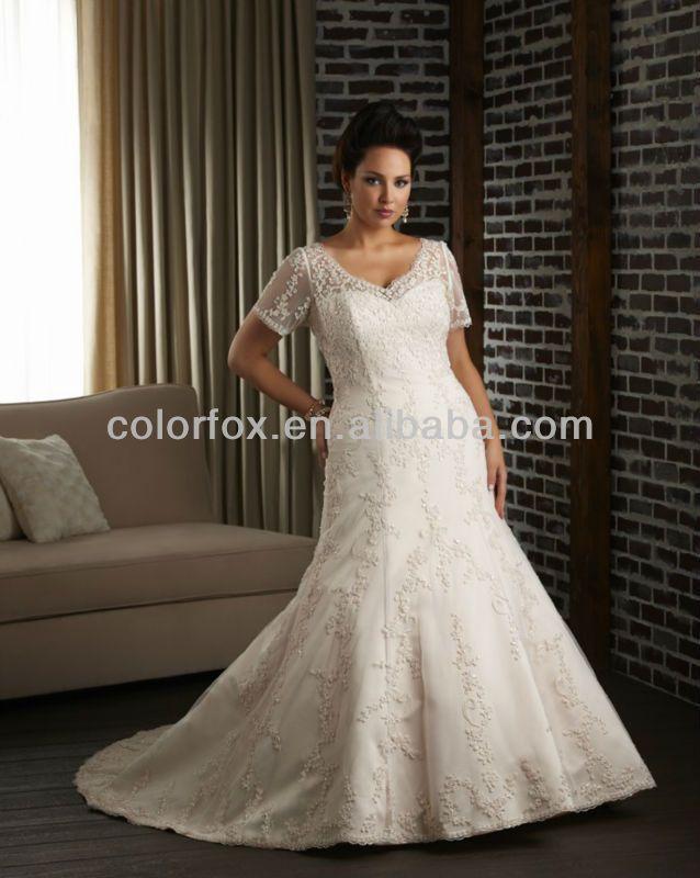 plus size wedding dress patterns | ... Pattern-Sheer-Short-Sleeves ...