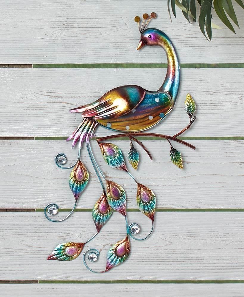 peacock colorful metal u glass wall sculpture art indoor outdoor