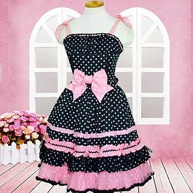 söt+dam+ärmlös+knälång+svart+och+rosa+bomull+skolan+lolita+klänning+–+SEK+Kr.+842