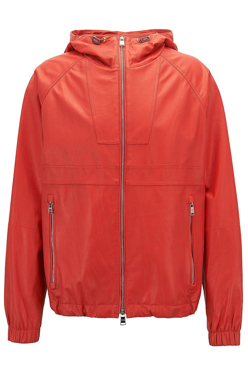 Lightweight Nappa Leather Windbreaker Jacket Carbello Orange Leather From Boss For Men For Leather Jacket Men Windbreaker Jacket Orange Leather Jacket [ 1456 x 960 Pixel ]