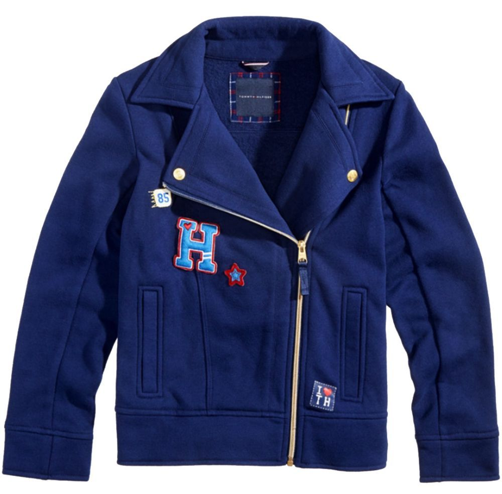 Nwt tommy hilfiger big girls motorcycle fleece jacket size xl