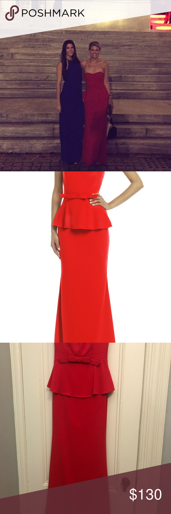 STUNNING Badgley Mischka Red Rosalind Peplum Gown | Peplum gown ...