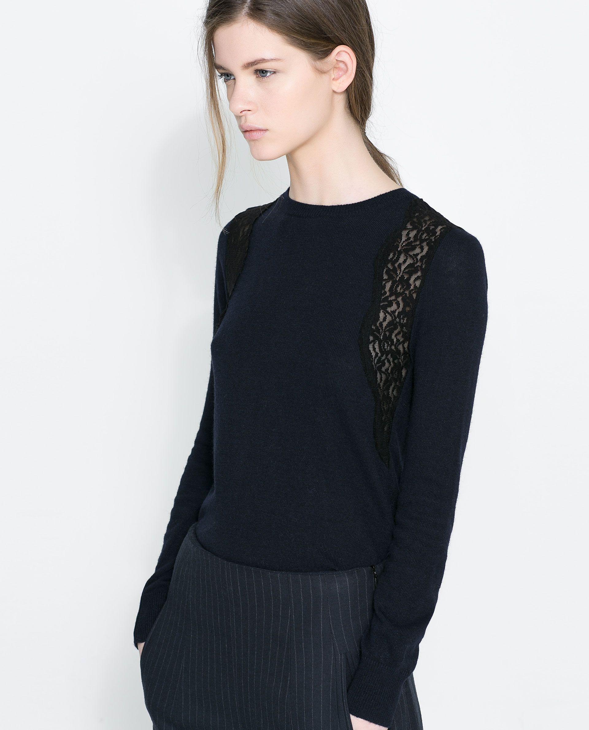 b606a60574 ANGORA AND LACE SWEATER - Knitwear - WOMAN   ZARA Ukraine   Zara ...