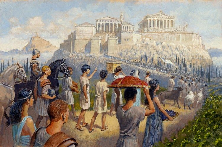 A festival in ancient Athens by Greg Ruhl | Ancient athens, Ancient civilizations, Greco persian wars