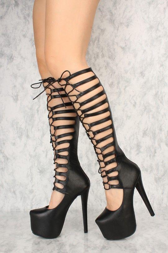 b9e78adbb02f Black Lace Up Gladiator 6 Inch High Heels Faux Leather