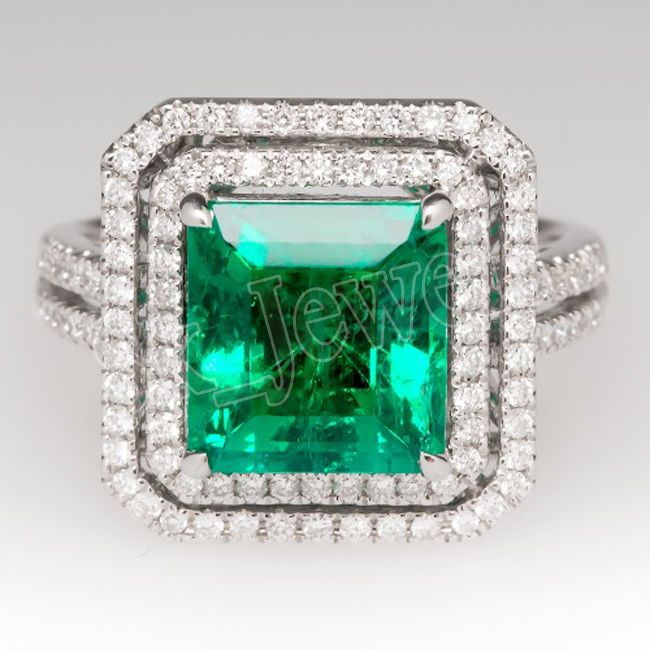 2.09ct NATURAL DIAMOND EMERALD 14K WHITE GOLD ENGAGEMENT RING  #SkBridalJewels #DiamondRing #Engagement