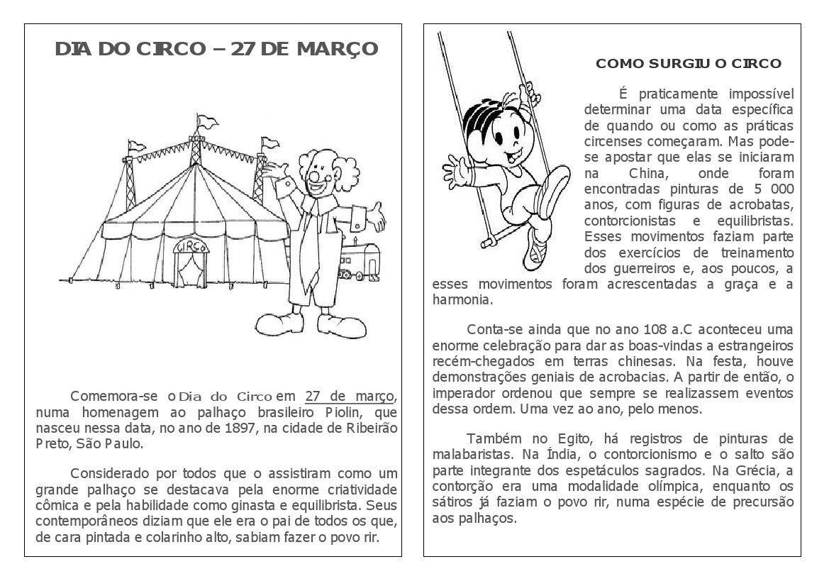 Atividades Dia Do Circo 27 De Marco Dia Do Circo Projeto Circo