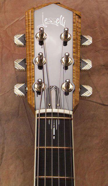 Jesselli Custom Guitar Model Modernaire Headstock With Zero Fret And Curved Bone Nut Guitar Design Guitar Inlay Guitar