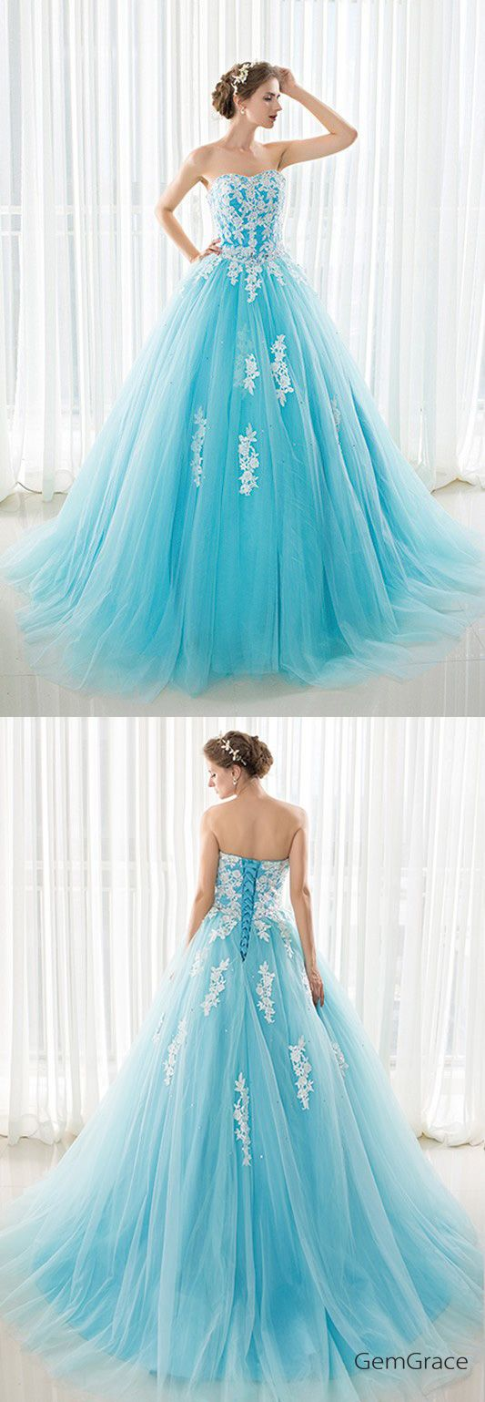 Blue long tulle lace strapless ballgown wedding dress ch