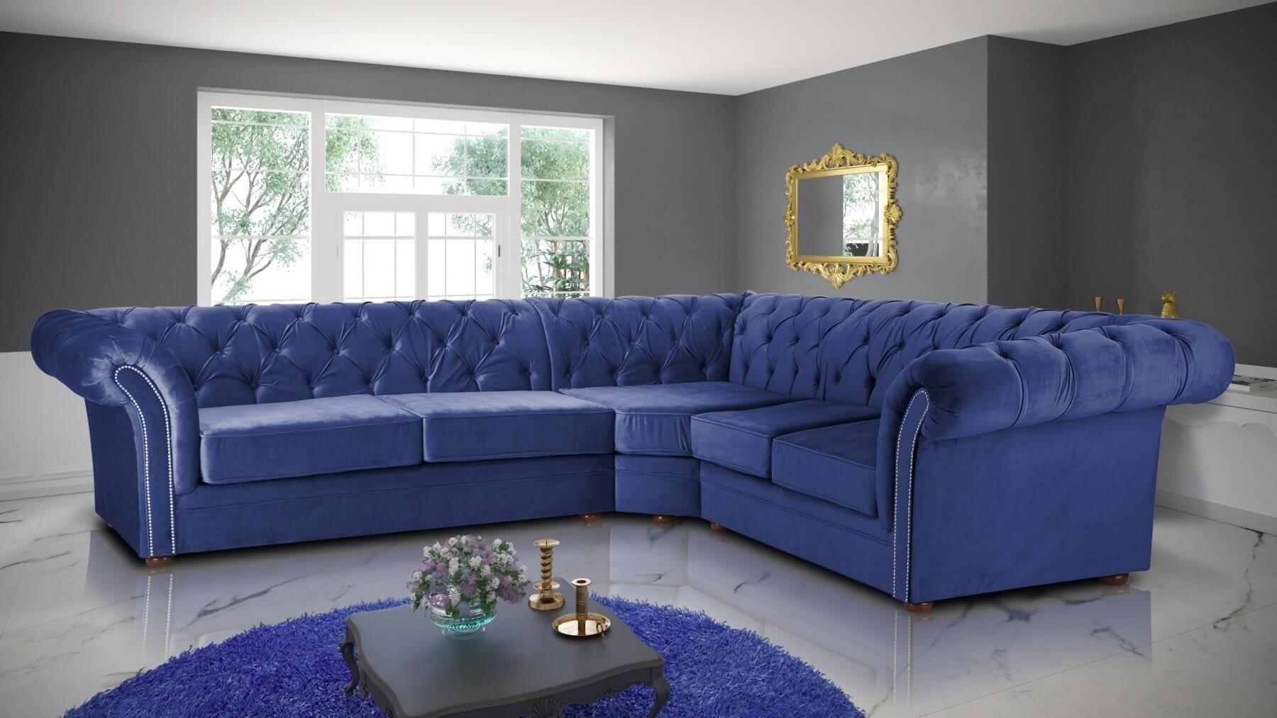 Velvet Chesterfield Marine Blue Corner 3c2 Nelson Sofa Corner Sofa Design Chesterfield Corner Sofa Living Room Sofa Design