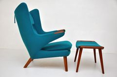 Hans Wegner - Papa Bear Chair with Ottoman at 1stdibs