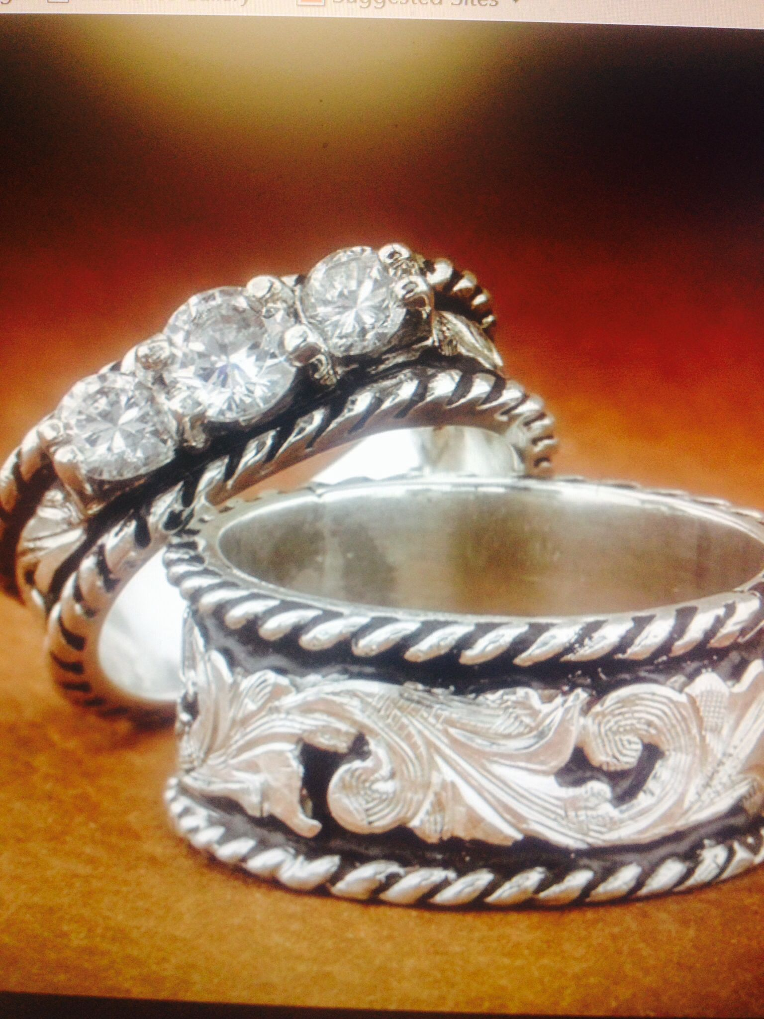 Western wedding set Fanning Jewelry Western wedding