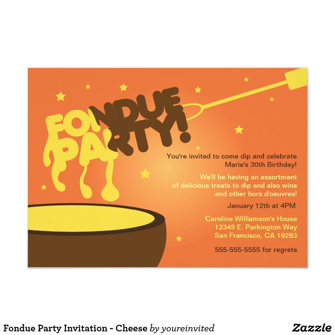 Fondue Party Invitation - Cheese | Zazzle.com #fondueparty