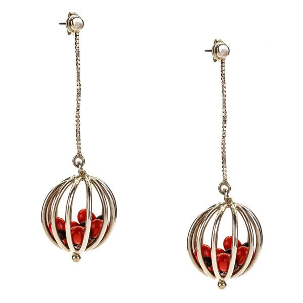 JJ Caprices - Sterling Silver Drop Ball Earrings with Tropical Seeds