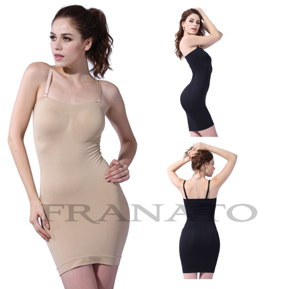 569898116 Ladies Body Shaper Firm Control Full Slip Seamless Slimming Tube Dress  Shapewear