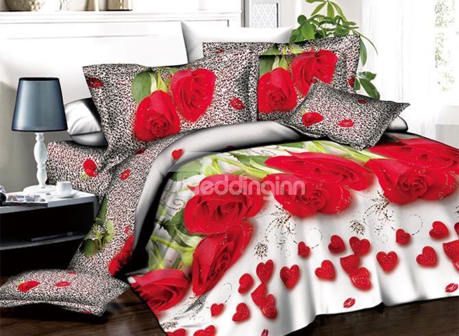 Romantic Red Roses And Heart Shape Petals Print 3d Duvet Cover Sets Bedding Sets Red Bedding Sets Floral Print Bedding