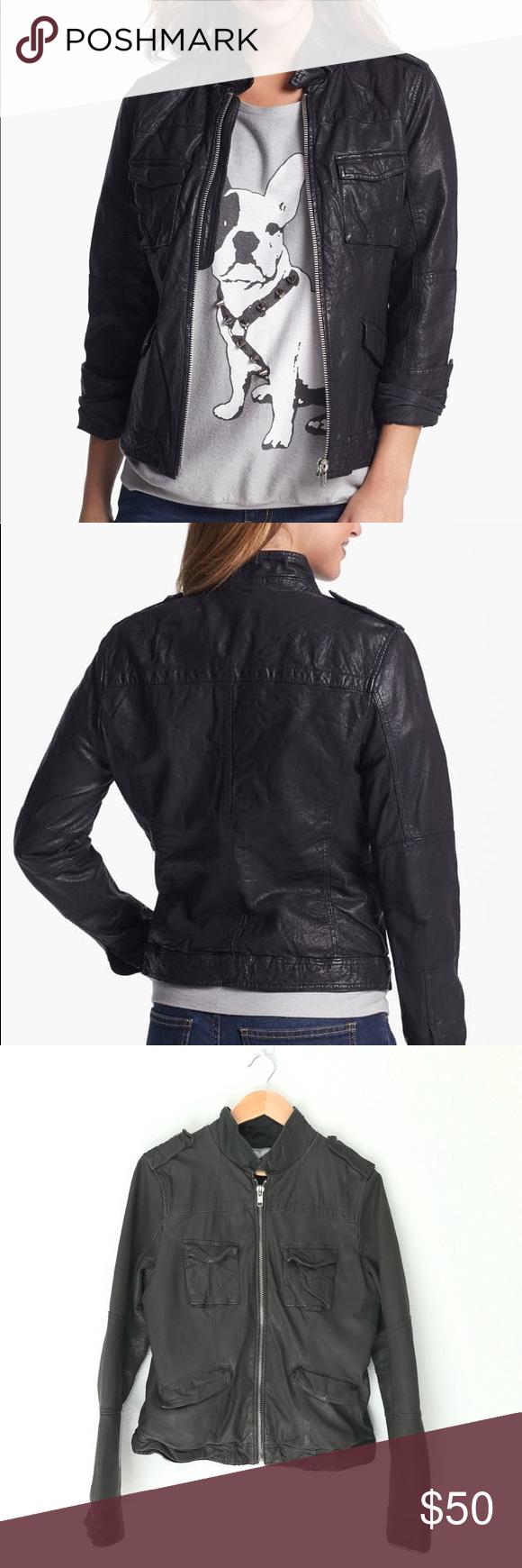 Nordstrom Q40 Crinkled Leather Jacket Leather jacket