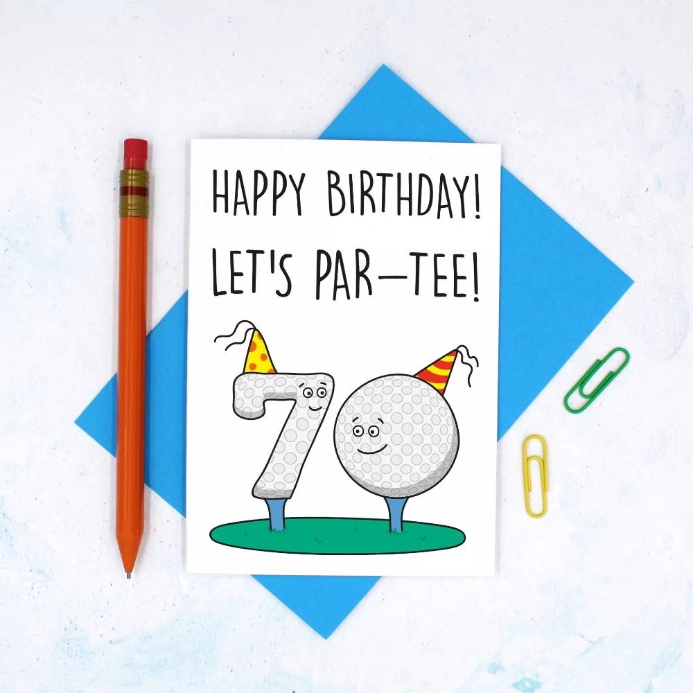 70th Birthday Golf Pun Card Teepee Creations Funny Golf Birthday Card 70th Birthday Card Birthday Card Puns Golf Birthday Cards