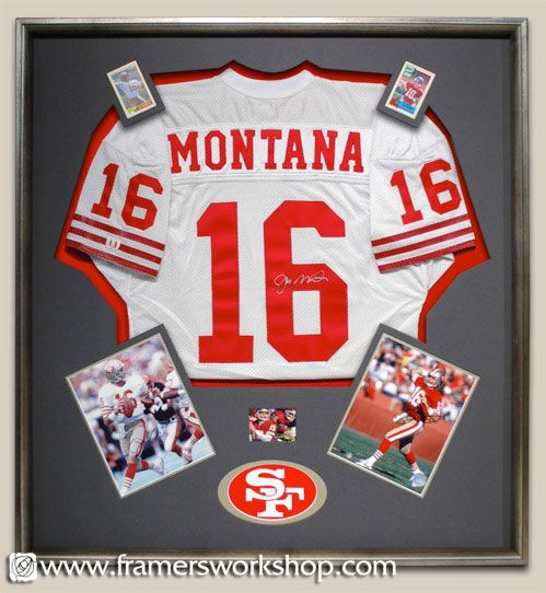 joe montana signed jersey framed with football cards sogned photos and logo