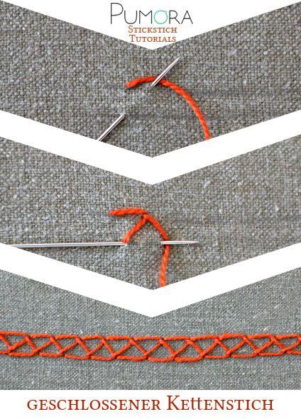Der geschlossene Kettenstich   Kettenstich, Stickstiche und Lexikon