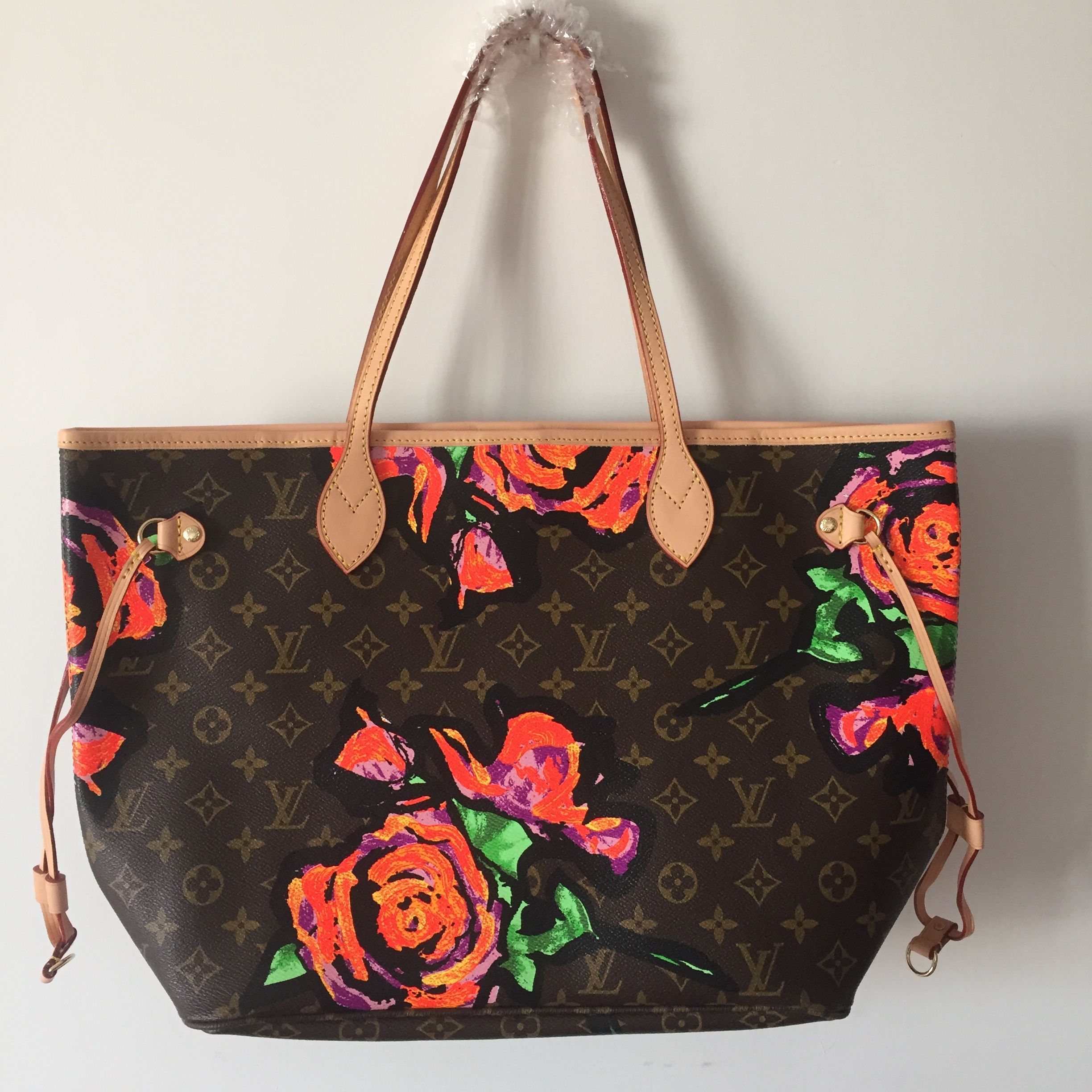 Louis Vuitton Lv Neverfull Shopping Bag Flower Design Mm Size