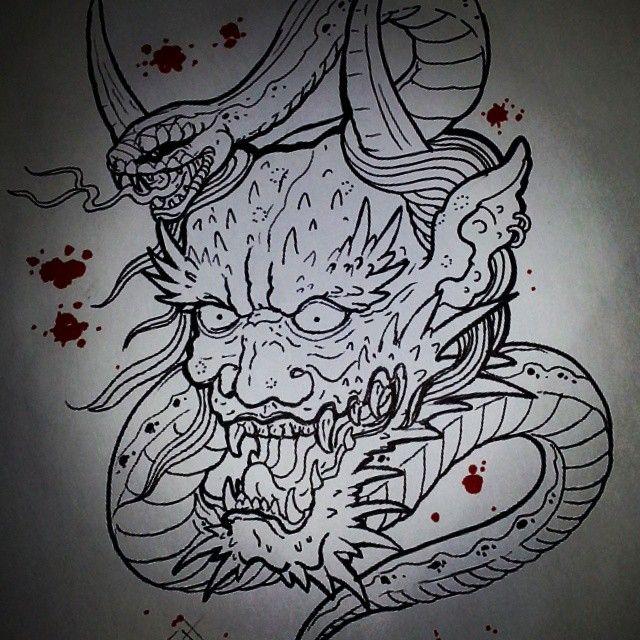 Asian Dragon Tattoo Sketch By Marinaalex On Deviantart: Dragon Hannya Head Snake Tattoo Sketch Draw Artwork