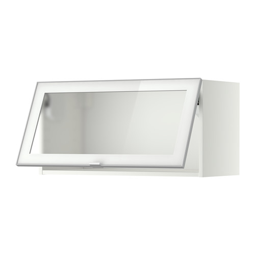 METOD Wall cab horizontal w glass door Black jutis frosted glass