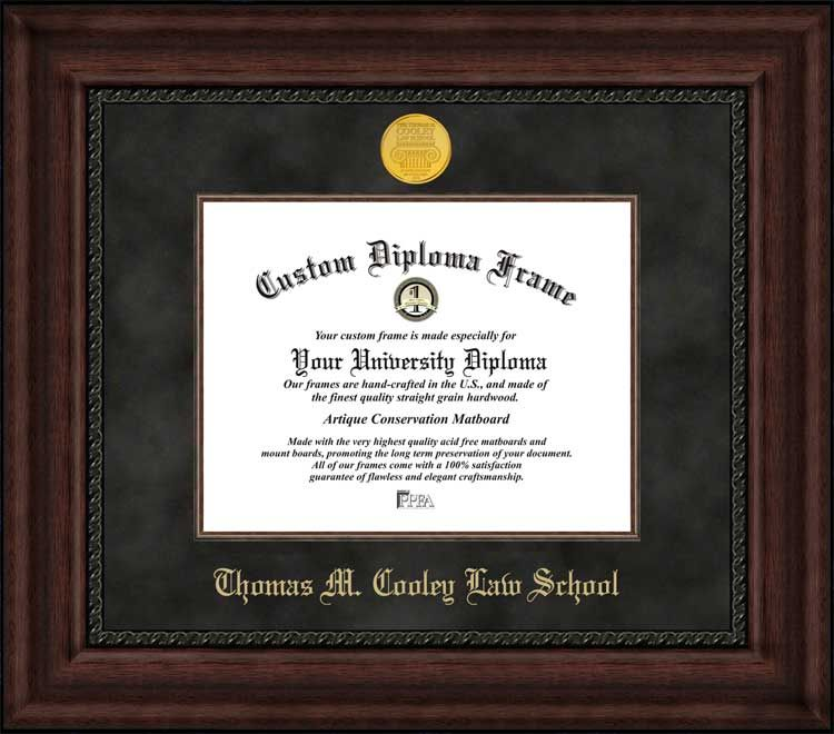 Thomas M Cooley Law School Diploma Frame - Gold Medallion - Suede ...
